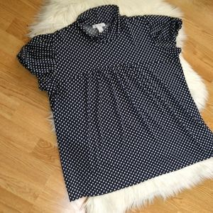 Dress Barn Navy Polka Dot Shirt